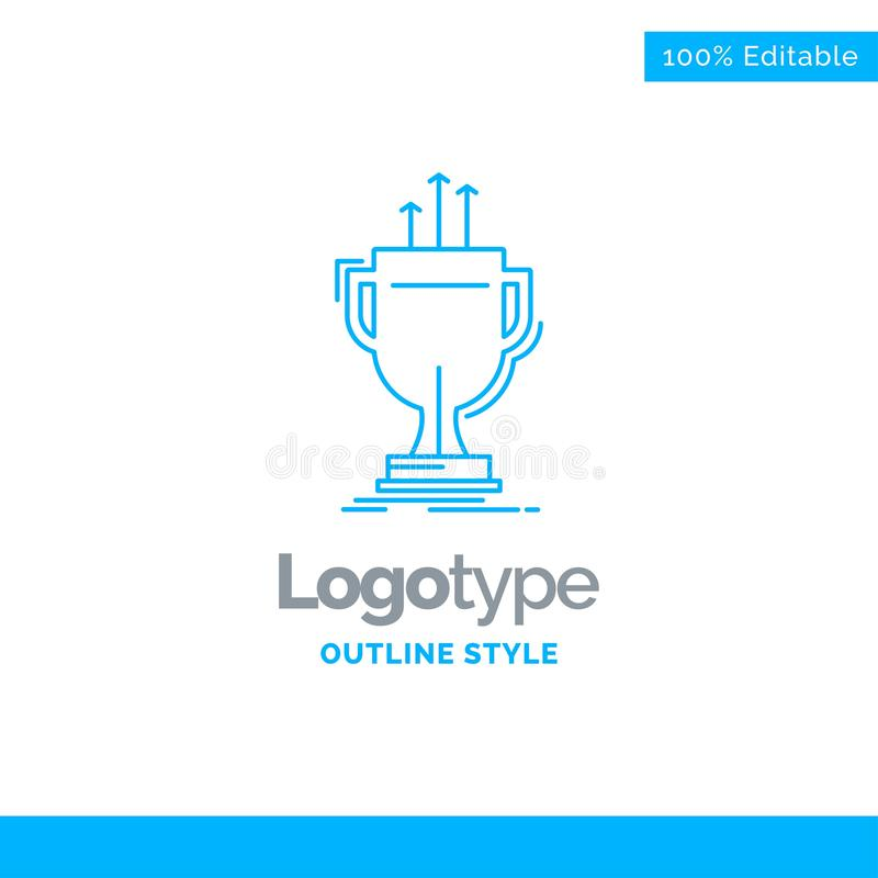 Blue Logo design for award, competitive, cup, edge, prize. Busin. Ess Concept Brand Name Design and Place for Tagline. Creative Company Logo Template. Blue and royalty free illustration