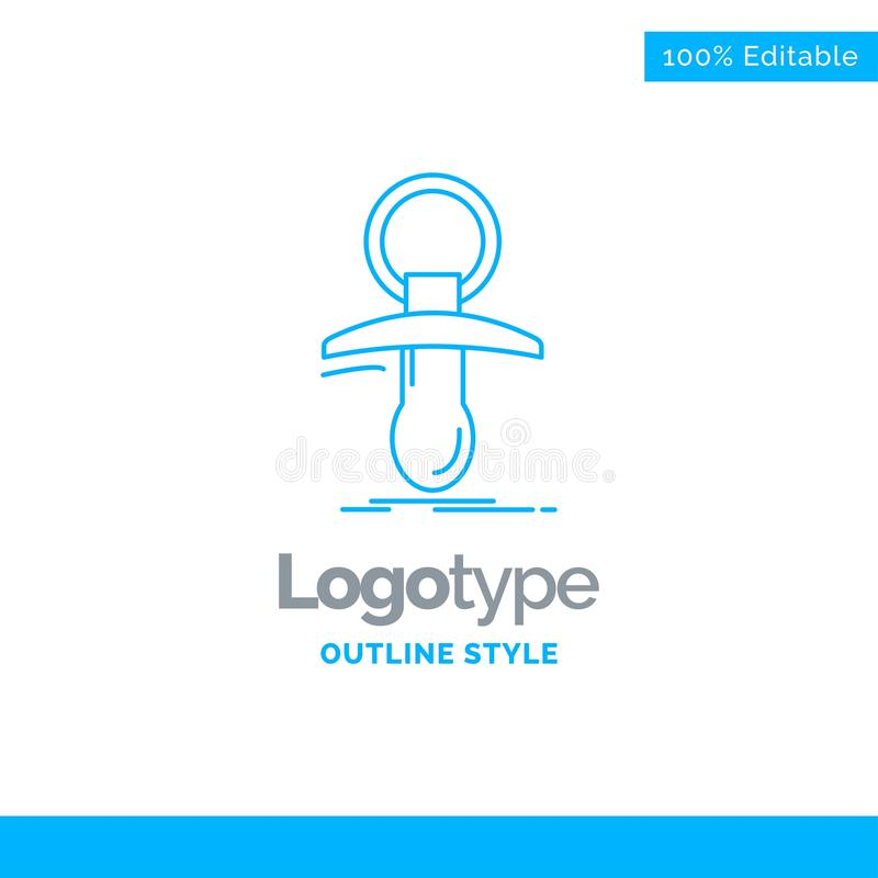 Blue Logo design for Baby, dummy, newbie, nipple, noob. Business. Concept Brand Name Design and Place for Tagline. Creative Company Logo Template. Blue and Gray stock illustration
