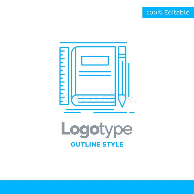 Blue Logo design for Book, notebook, notepad, pocket, sketching. Business Concept Brand Name Design and Place for Tagline. Creative Company Logo Template. Blue royalty free illustration