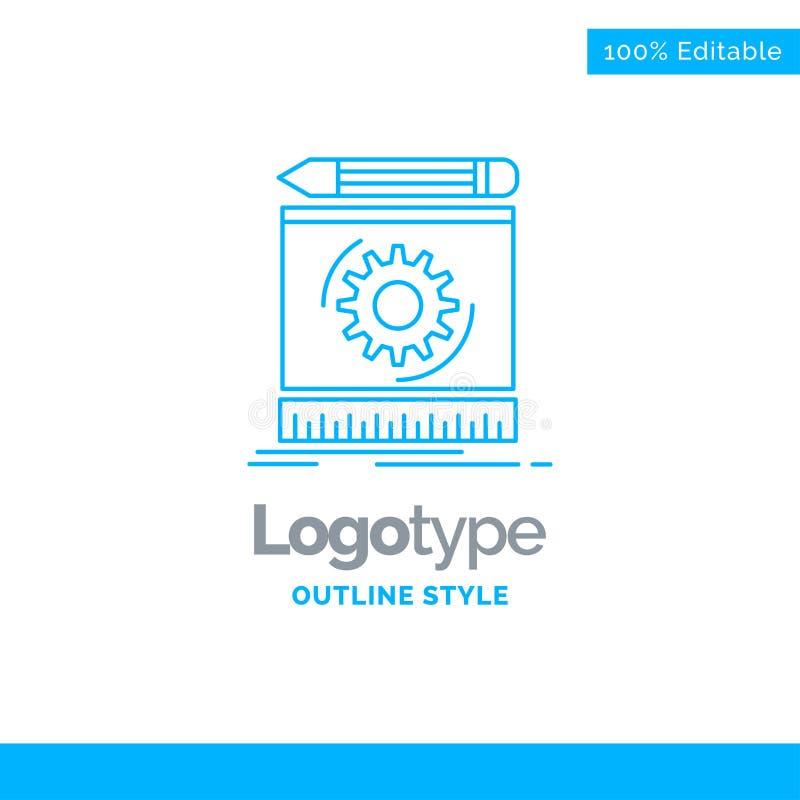Blue Logo design for Draft, engineering, process, prototype, pro stock illustration