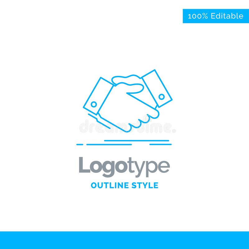 Blue Logo design for handshake, hand shake, shaking hand, Agreem. Ent, business. Business Concept Brand Name Design and Place for Tagline. Creative Company Logo royalty free illustration