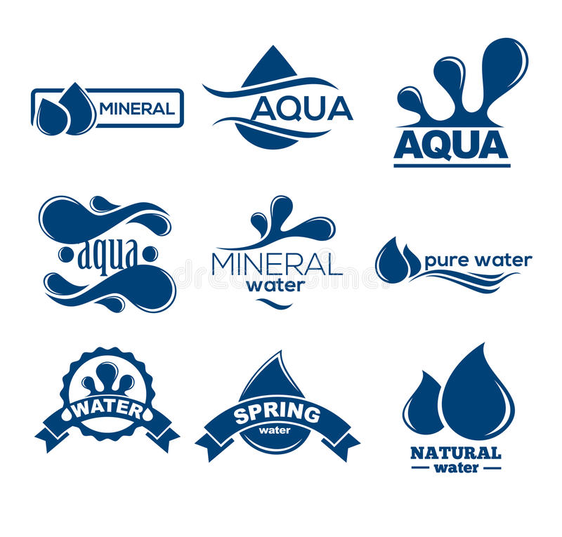 Blue logos set. Label for mineral water. Aqua icons collection. Vector Illustration isolated on white background royalty free illustration