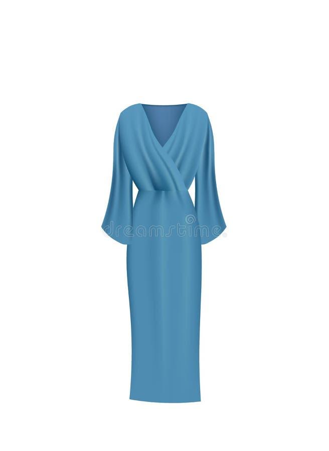 Blue long silk dress. Vector ilustration vector illustration