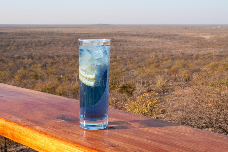 Blue Longdrink on Terrace with African Landscape. Blue Longdrink Gin and Tonic with Lemon on Terrace with African Landscape near Etosha National Park royalty free stock photos