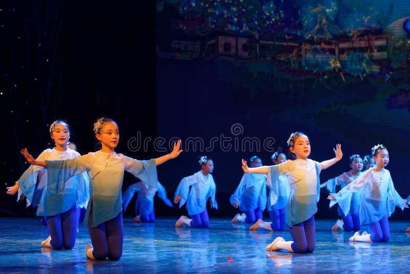 Blue lotus- Beijing Dance Academy grading test outstanding children`s dance teaching achievement exhibition Jiangxi. Sponsored by the Beijing Dance Academy royalty free stock photo