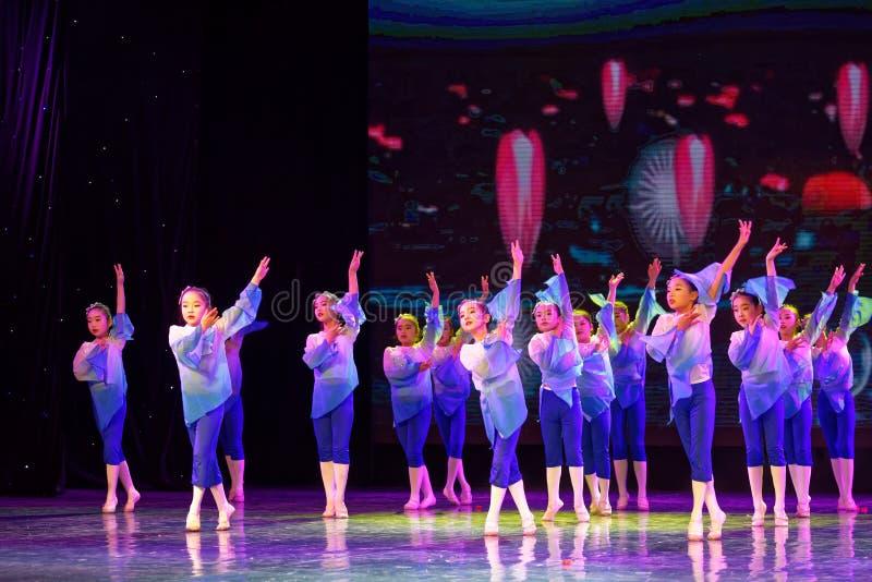 Blue lotus- Beijing Dance Academy grading test outstanding children`s dance teaching achievement exhibition Jiangxi. Sponsored by the Beijing Dance Academy royalty free stock photography