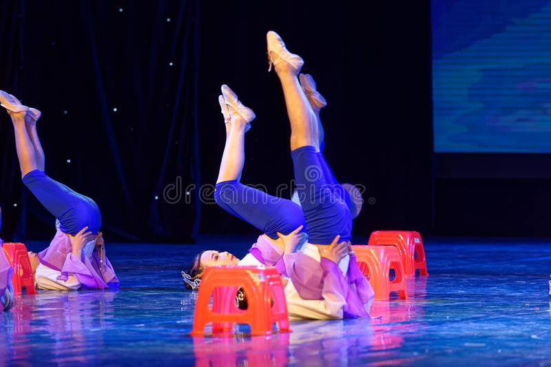 Blue lotus- Beijing Dance Academy grading test outstanding children`s dance teaching achievement exhibition Jiangxi. Sponsored by the Beijing Dance Academy royalty free stock photos