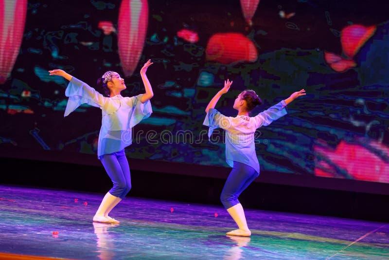Blue lotus- Beijing Dance Academy grading test outstanding children`s dance teaching achievement exhibition Jiangxi. Sponsored by the Beijing Dance Academy royalty free stock images