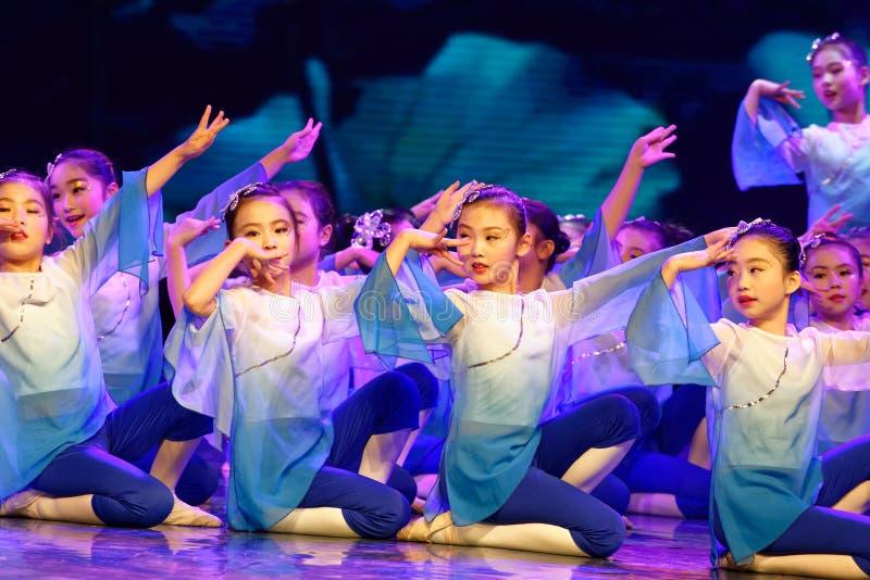Blue lotus- Beijing Dance Academy grading test outstanding children`s dance teaching achievement exhibition Jiangxi. Sponsored by the Beijing Dance Academy stock image