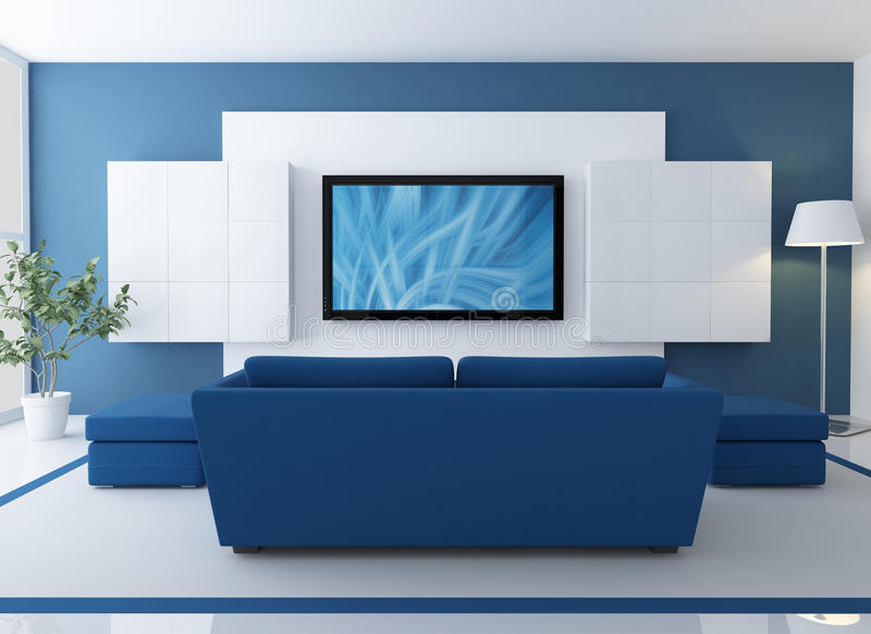 Blue lounge with lcd tv. Blue and white lounge with lcd tv - rendering - the image on screen is a my composition stock illustration