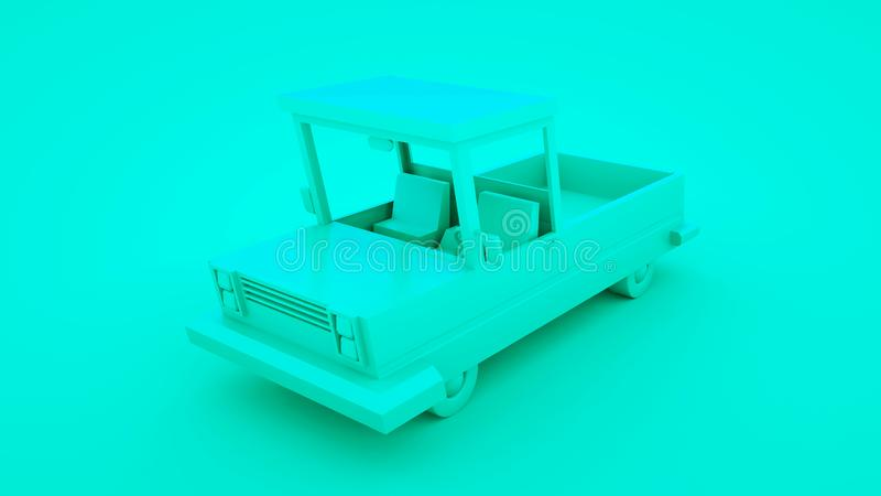 Blue low poly cartoon pickup car. 3D illustration royalty free illustration