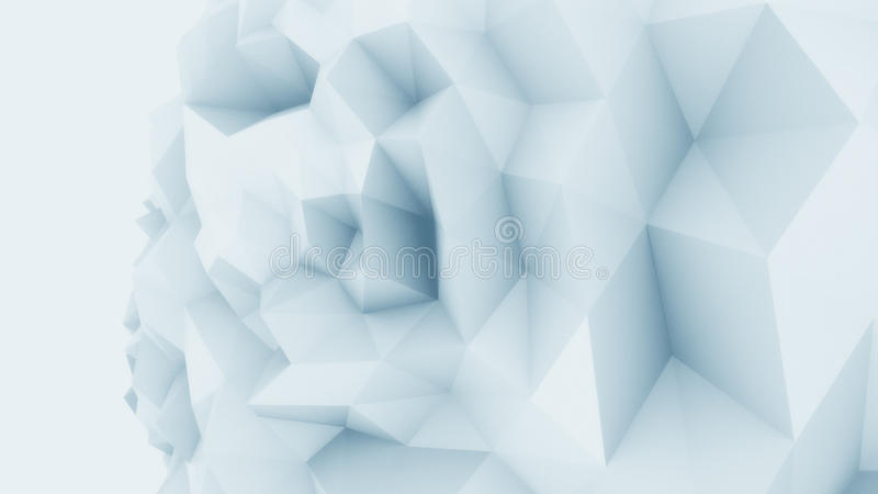 Blue low poly edgy sphere background for modern reports and presentations. 3D rendering royalty free stock photography