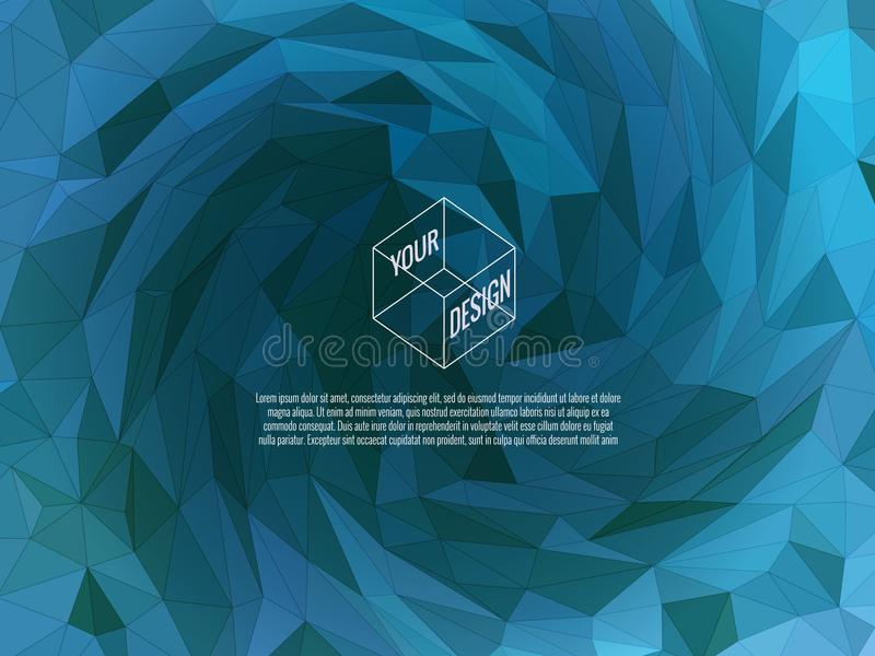 Low poly twirl BG in blue color theme. Blue low poly twirl vortex background for text copy message and multi purpose design vector illustration