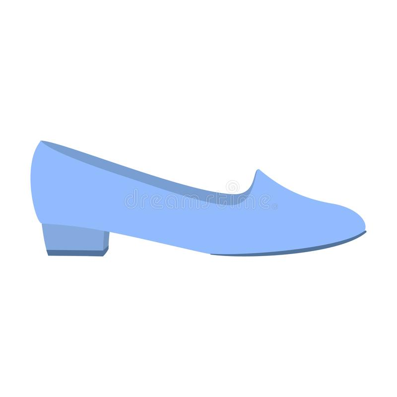 Blue low shoe icon, flat style stock illustration