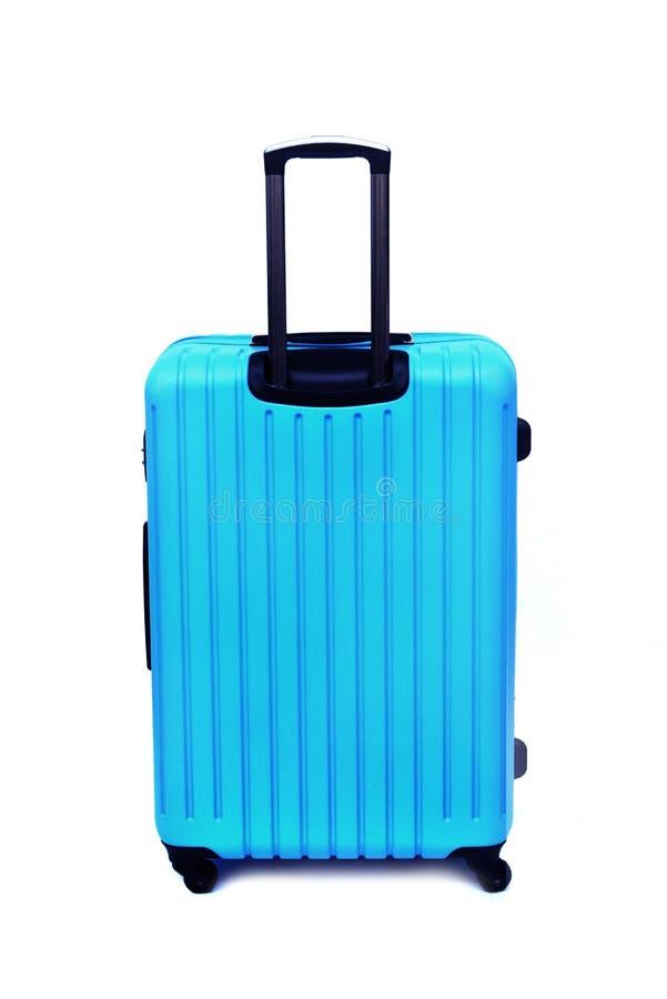 Blue luggage isolated stock photos