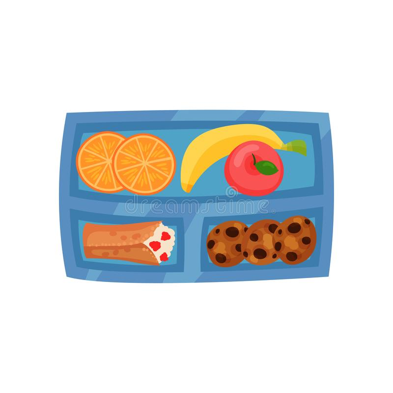 Blue lunch box with sweet food. Fresh fruits, cookies with chocolate chunks and pancake with cottage cheese. Flat vector. Blue lunch box with sweet food. Fresh royalty free illustration