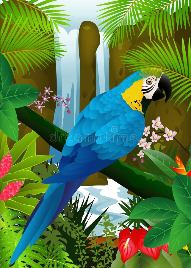 Blue Macaw In The Tropical Forest Royalty Free Stock Photography