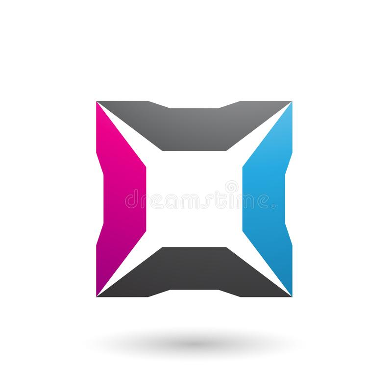 Blue Magenta and Black Square with Spikes Vector Illustration stock illustration