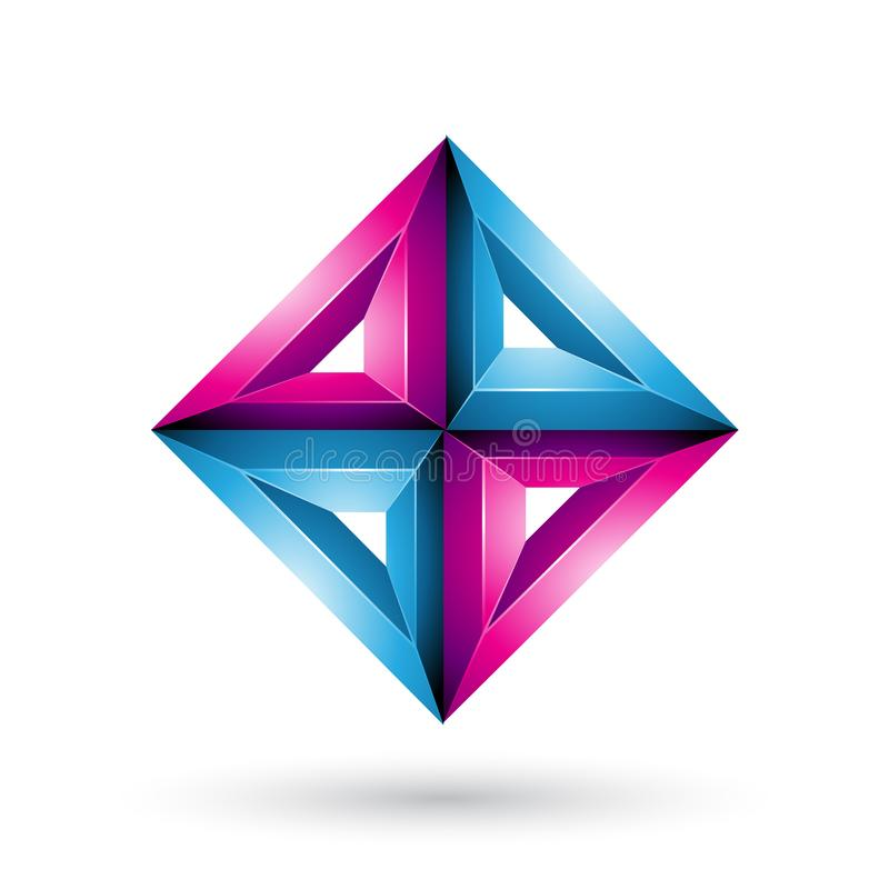 Blue and Magenta 3d Geometrical Embossed Diamond Shape isolated on a White Background royalty free illustration