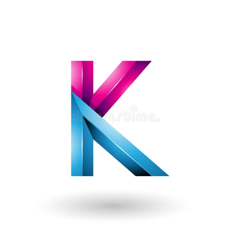 Blue and Magenta Glossy 3d Geometrical Letter K isolated on a White Background stock illustration