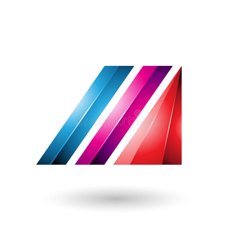 Blue and Magenta Letter M of Glossy Diagonal Bars stock illustration