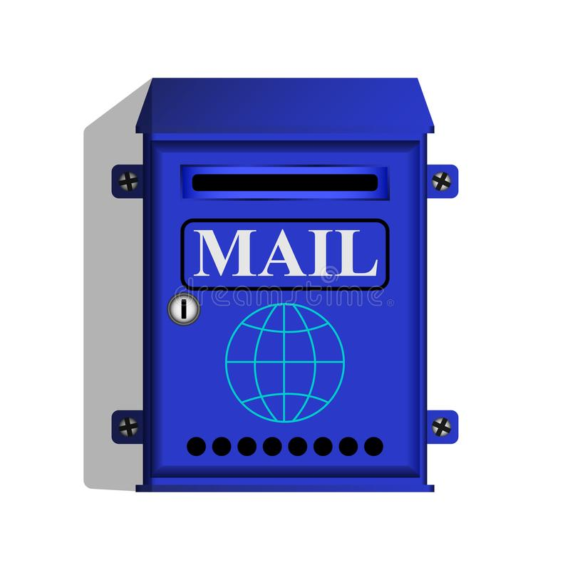 Blue mail box for letters and Newspapers stock illustration
