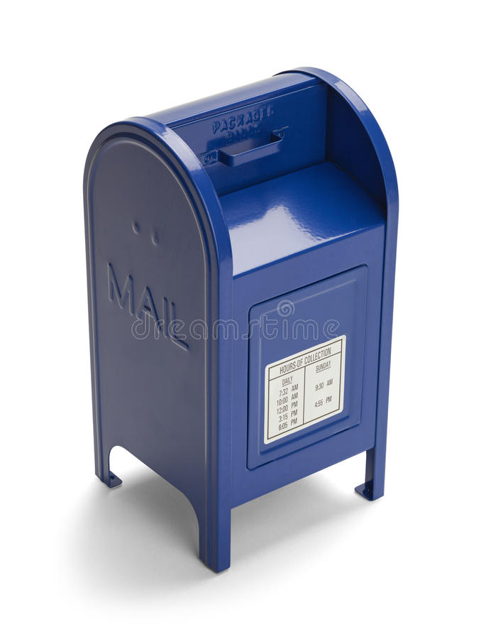 Blue Mail Box. Metal Blue Postal Mail Box Isolated on White Background royalty free stock photography