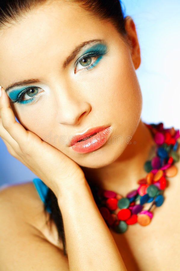 Download Blue Makeup stock image. Image of stylish, hairstyle, hair - 744187