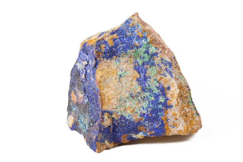 Blue malachite stone. On white isolated background stock photography