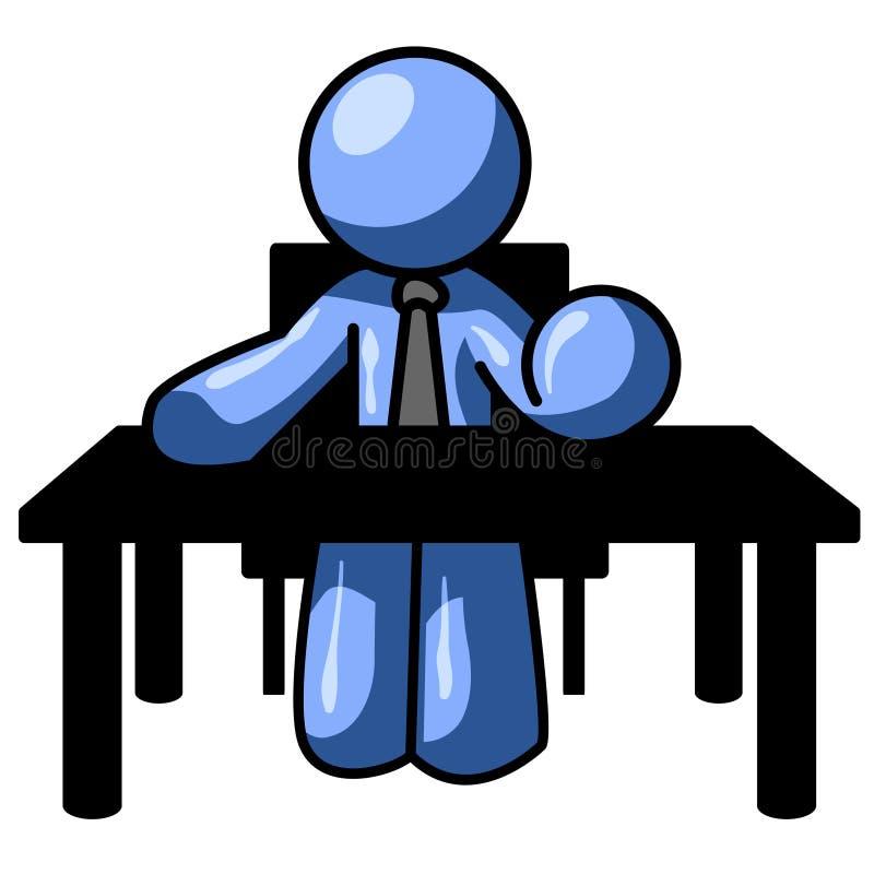 Blue Man At Desk Stock Image