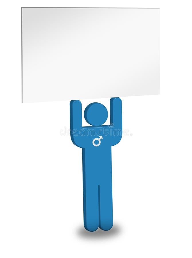 Blue Man Holding Sign
