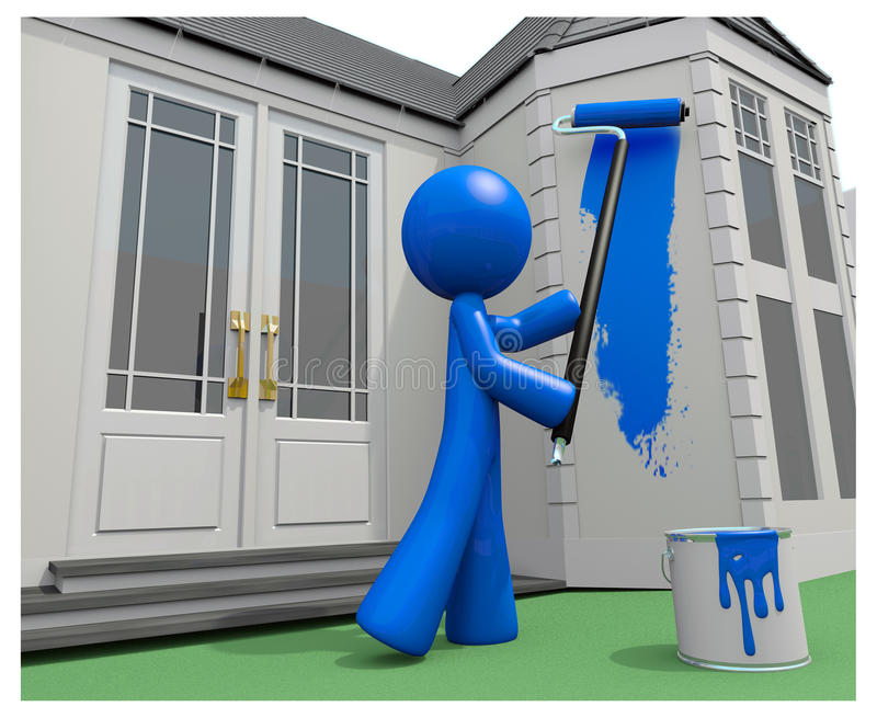 Blue Man Painting His House With Paint Roller Stock Illustration Illustration Of Professional