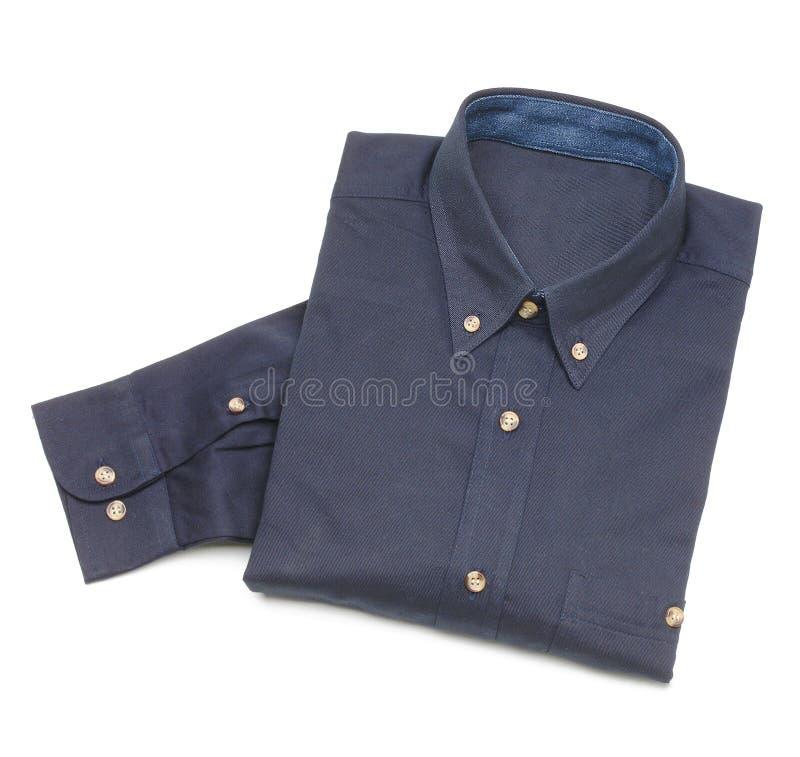 Blue man shirt. Isolated on white stock photos