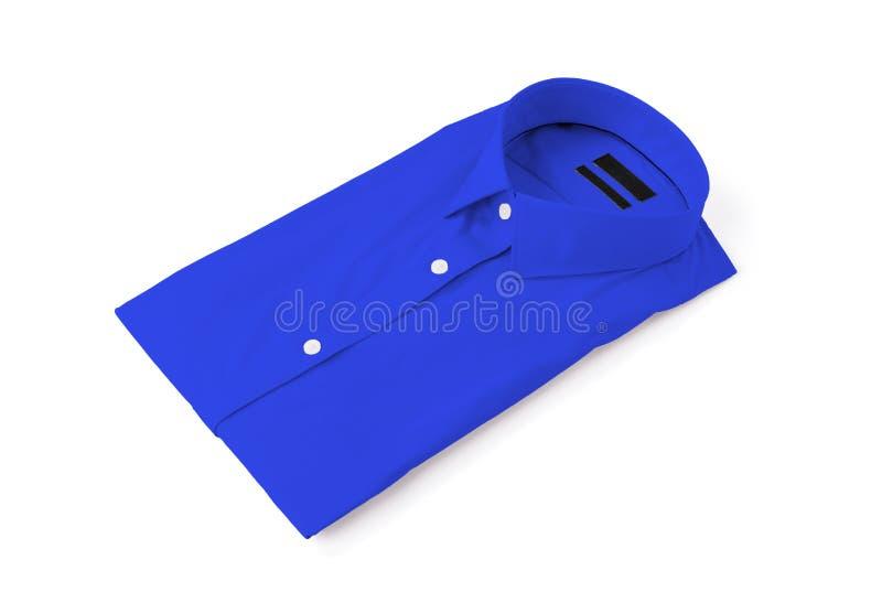 Blue man shirt on white background. New and folded royalty free stock photo