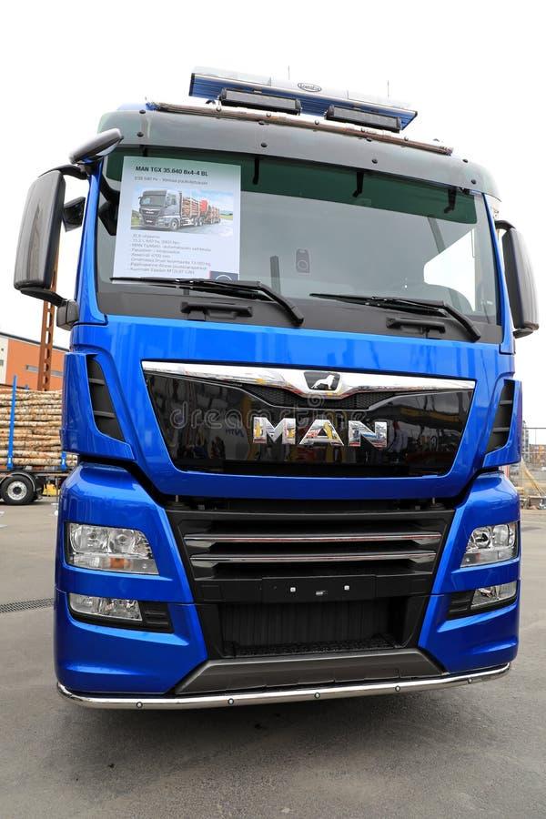 Blue MAN TGX Logging Truck Front View stock photos
