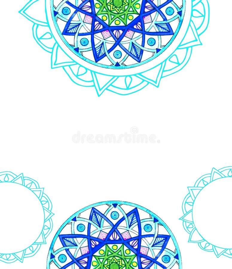 Blue mandala. Greeting card design stock illustration