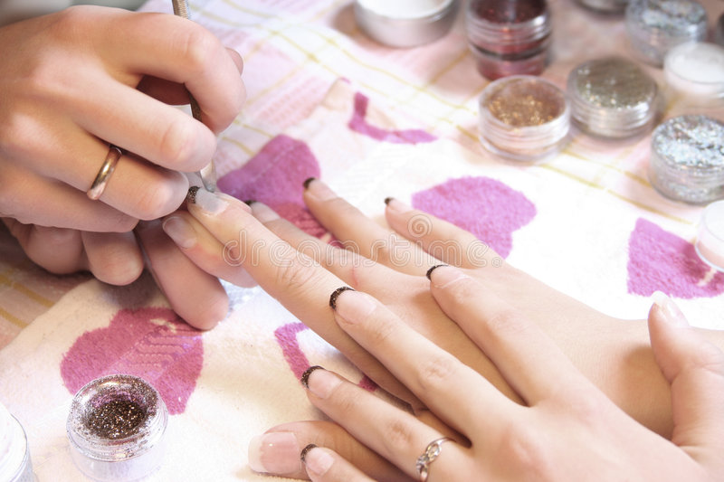Blue manicure royalty free stock photography