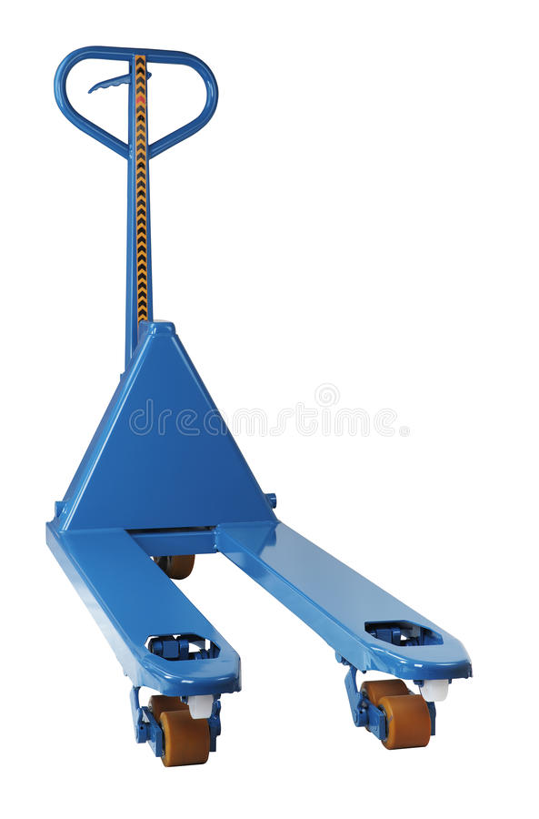 Blue manual hand hydraulic fork pallet truck stock photography