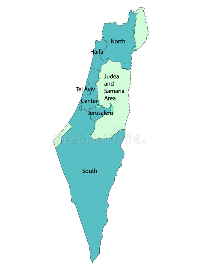Blue Map of Districts of State Israel With District Names. Vector Illustration of the Blue Map of Districts of State Israel With District Names vector illustration