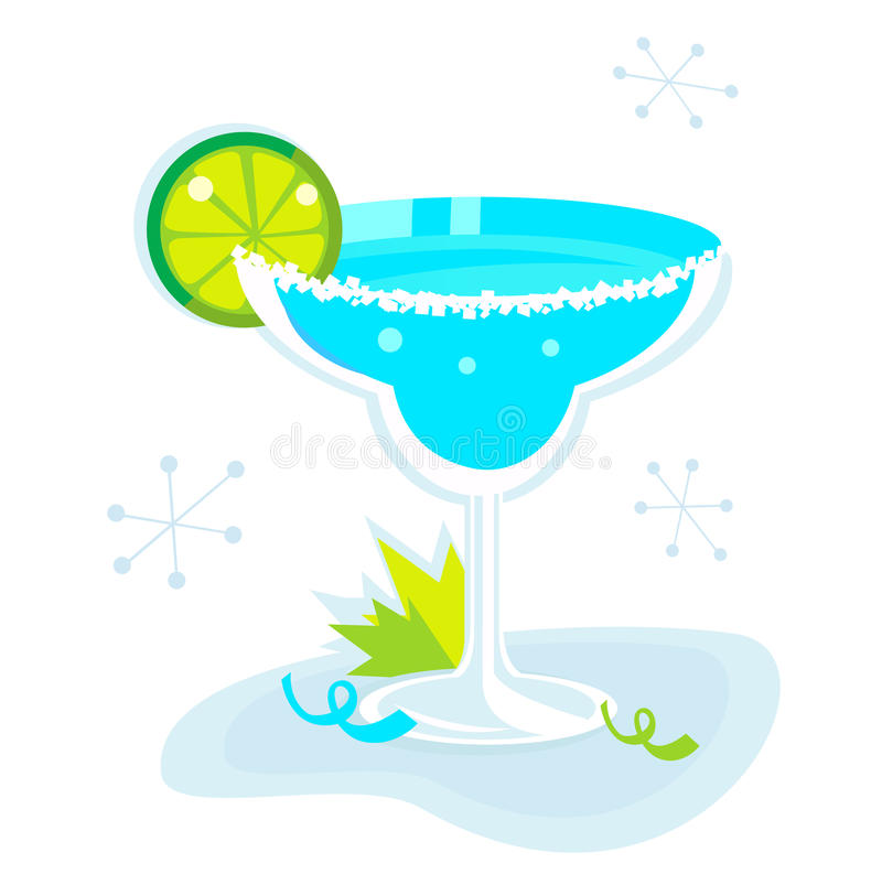 Blue Margarita cocktail isolated on white. Retro Margarita drink isolated on white background. Lime and mint leaf - retro party begin! Vector Illustration stock illustration