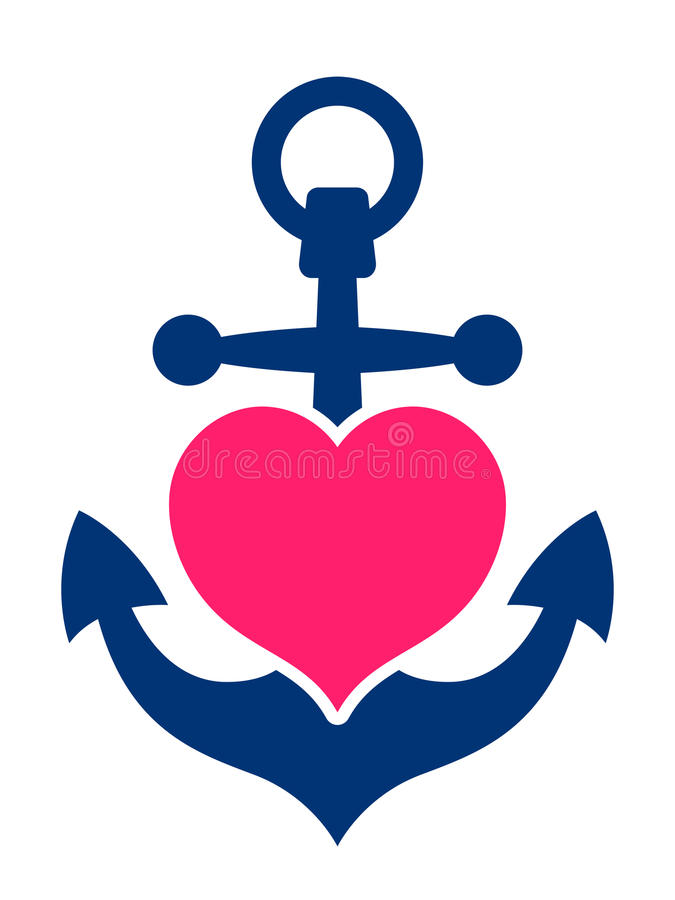 Free Blue Marine Anchor With A Pink Heart Royalty Free Stock Photo - 52273205