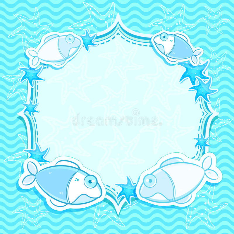 Download Blue  Marine Invitation Card With Starfish Stock Vector - Image: 24745431
