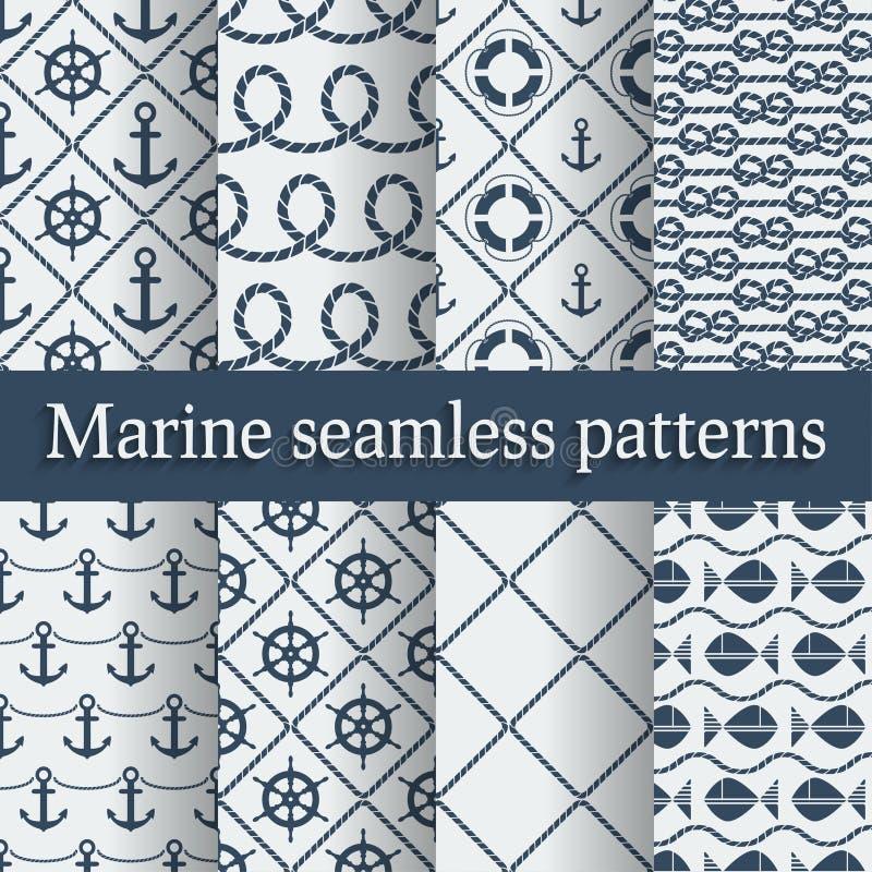 Blue marine seamless patterns set vector illustration