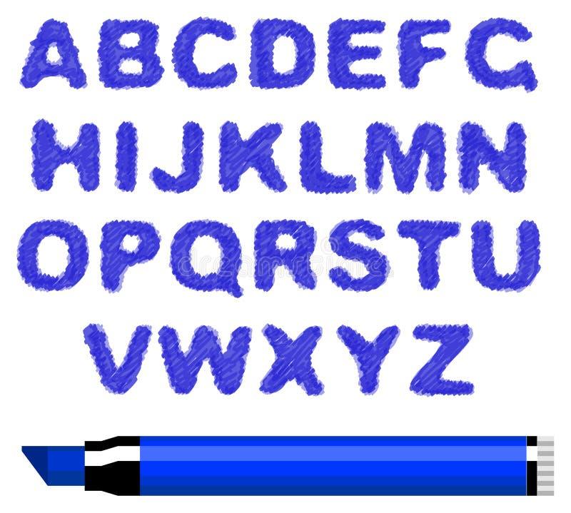 Blue marker alphabet. Vector blue marker alphabet on a white background stock illustration