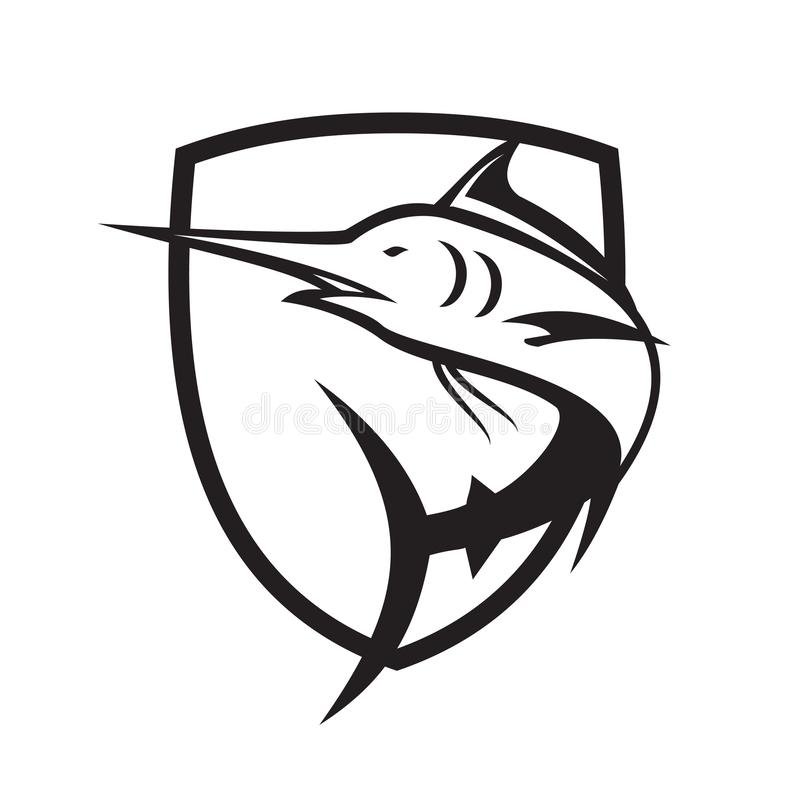 Blue Marlin Jumping Crest Black and White vector illustration