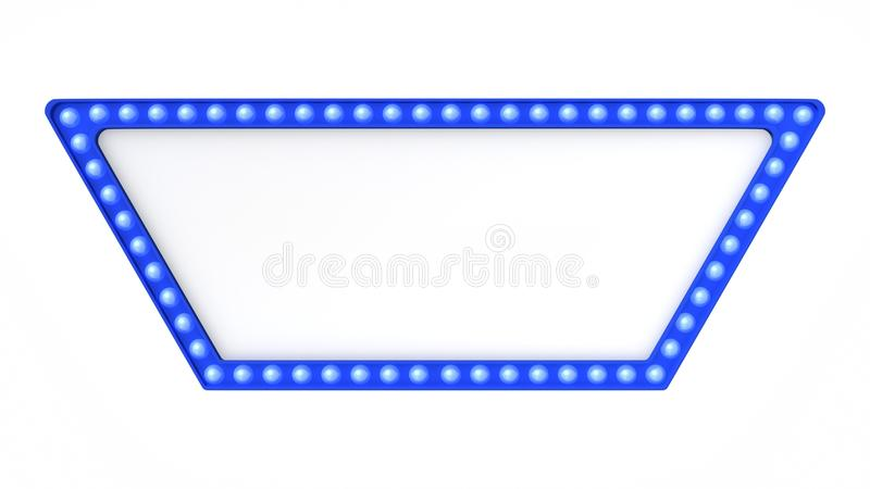 Blue marquee light board sign retro on white background. 3d rendering royalty free stock photography