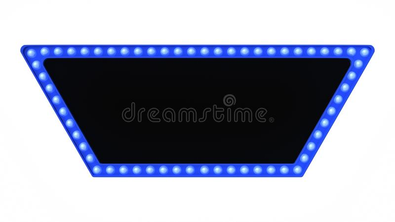 Blue marquee light board sign retro on white background. 3d rendering royalty free stock photos
