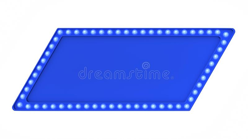 Blue marquee light board sign retro on white background. 3d rendering royalty free stock images