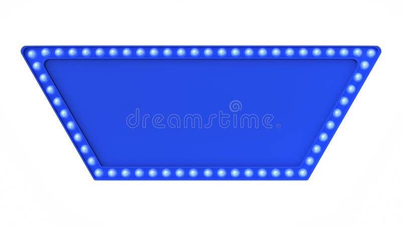 Blue marquee light board sign retro on white background. 3d rendering stock photography