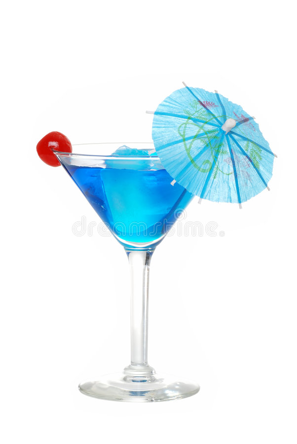 Blue martini with a cherry stock images